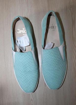Кожаные слипоны мятного цвета caprice walking on air 38 размер
