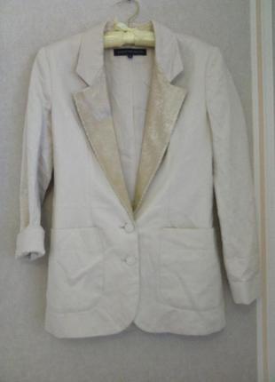 Удлиненный пиджак, лён, с паетками