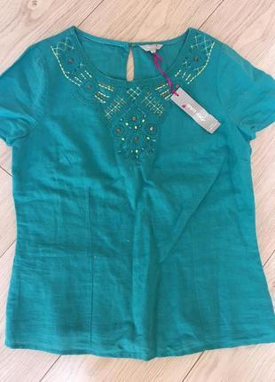 Вышиванка лен блуза натуральная с вышивкой