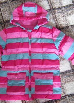 Яркая утеплённая фирменная деми куртка f&f на девочку 6-7 лет р.122 см