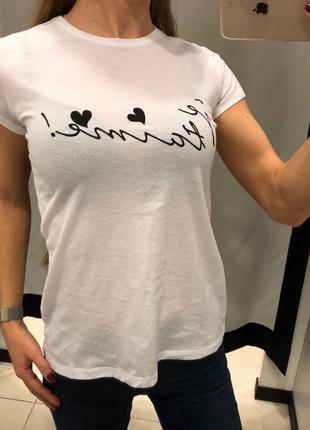 Качественная хлопковая футболка mohito белая футболка с надписью