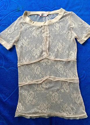 Шикарная кружевная футболка блуза max mara оригинал италия