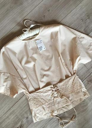 Шикарная блуза с корсетом  люверсами и шнуровкой  h&m