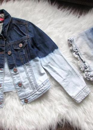Фирменный стильный джинсовый комплект омбре куртка и шорты 5-6 лет