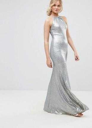 Tfnc tall чарівна срібна сукня повністю в паєтках доставка сутки