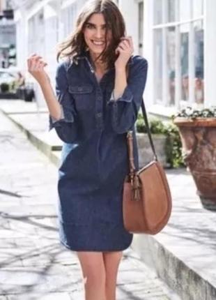 Джинсовое платье с длинными рукавами и карманами boden