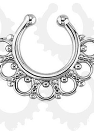 Изящный и модный септум-обманка в нос, пирсинг-обманка