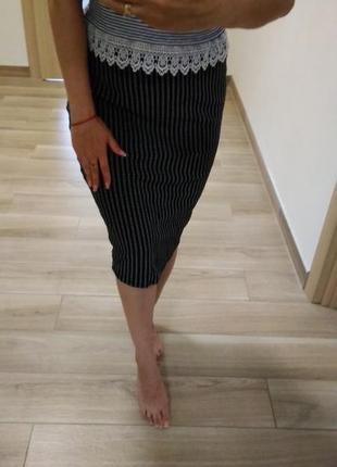 Шикарная  юбка карандаш миди в черно белых  тонах от f&f м_л