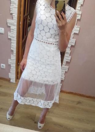 Платье стильное миди сетка