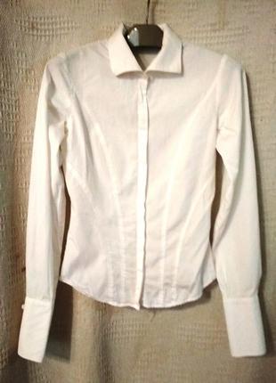 Рубашка белая офисная с запонками pink р. s xs состояние новой