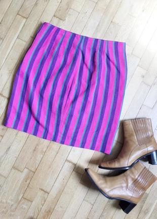 Винтажная юбка в полоску розовая фиолетовая лён gregory pat