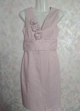 Платье с цветами и драпировкой