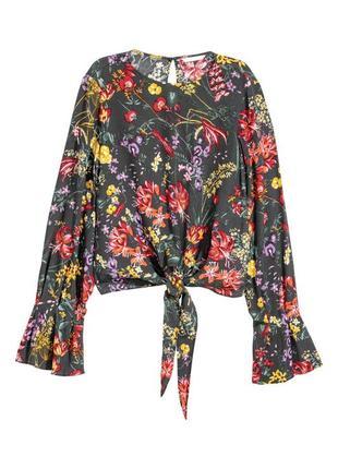 Блузка в цветочки, лонгслив, летняя рубашка, h&m, размер xl