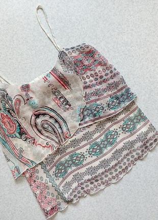 1+1=3 майка блуза с воланом принт