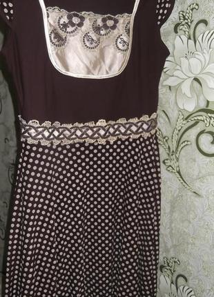 Платье коричневое низ в горошек