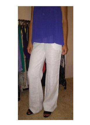 Белые брюки лён