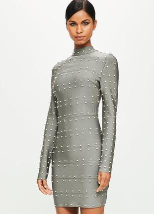 🖤эксклюзивное бандажное платье с диамантами missguided lux peace&love🖤msg047