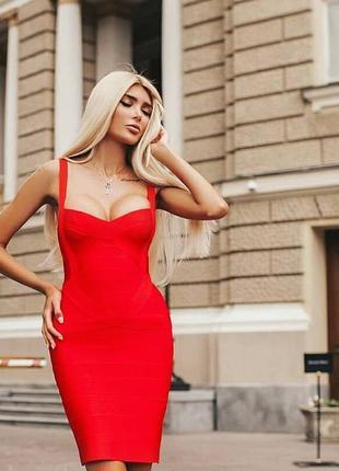 Шикарное сексуальное облегающее бандажное платье по фигуре herve leger красное алый