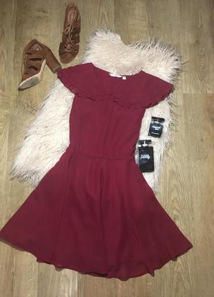 Платье цвета марсала \винного цвета new look