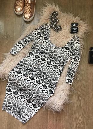Трикотажное платье по фигуре с оригинальным принтом m new look