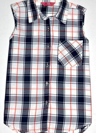 Супер стильная рубашка в клетку,ковбойка yd на 12-13 лет.