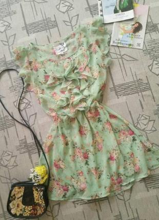 Романтичное мятное платьице,на невысокий рост!размер 12-14