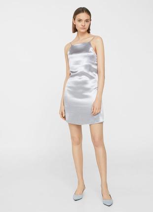 Серебристое платье сарафан mango