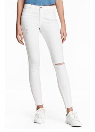 Новые белые рваные джинсы скинни h&m