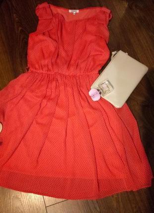 26dbed300a2c432 Красное платье в горошек a*dress, коралловое с поясом, шелковое, в греческом