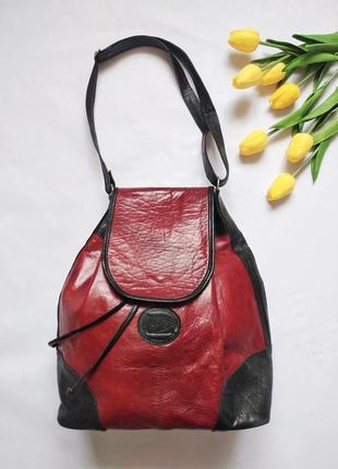 Кожаная винтажная сумка-торба рюкзак италия