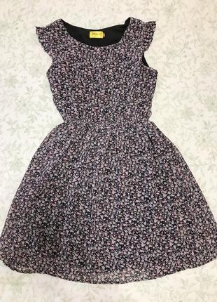 Летнее платье сарафан шифон в цветочек london