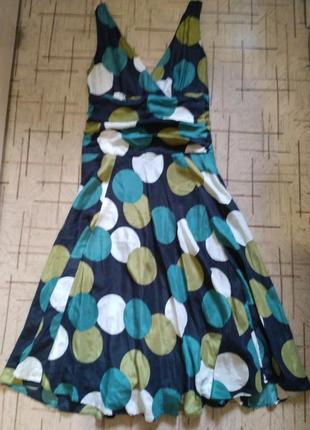 Шёлковое платье миди в горошек