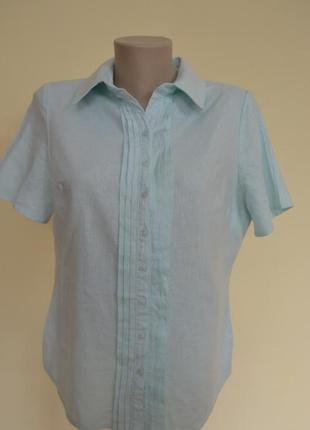 Мятная английская блуза лен