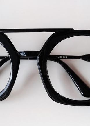 Черная круглая глянцевая оправа для имиджа для фотосессии большие очки без линз