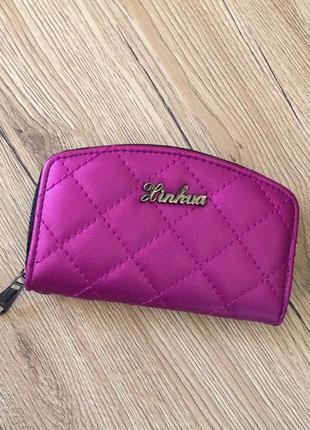 Розовый малиновый перламутровый стеганый маленький мини-кошелёк портмоне ромбик на змейке