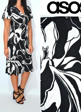 Платье миди черно белое с воланами asos