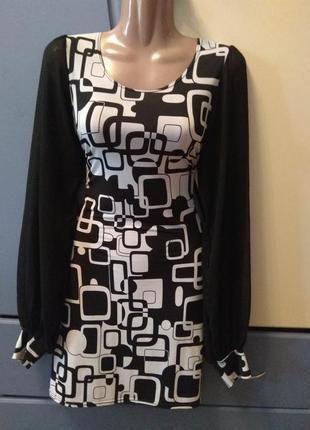 Чёрно-белое платье с полупрозрачным широкими рукавами quiz