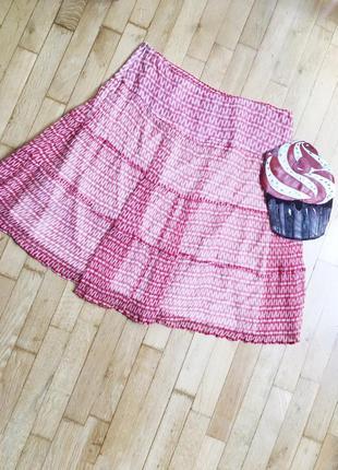 Акция! 1+1=3 шелковая юбка на подкладке essentiel летящая сиди красная белая