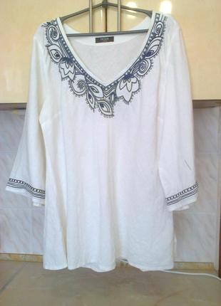 Фирменая льняная силуэтная блуза - вышиванка - распашонка, бохо стиль, лен, поб 67