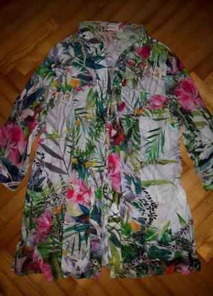 Трендовая батистовая блуза в тропический принт от erfo! p.-46! батал