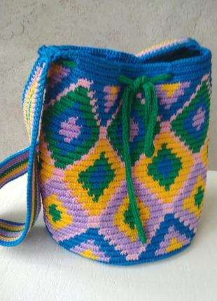 Яркая мексиканская сумка-торба мочила mochilla