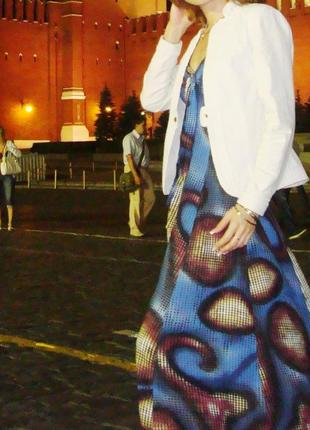 Шикарный синий сарафан иакси с принтом в пол, длинное летнее платье с чашками