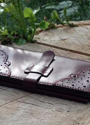 Кожаный женский кошелек ручной работы. эксклюзив 100 %