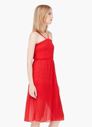 Красное миди платье mango