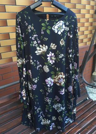 Красивое платье в цветочный принт  большой размер f&f