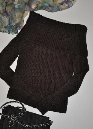 Трендовый свитер крупной вязки с открытыми плечами miss selfridge
