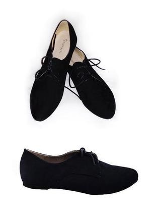 Женские эко-замшевые туфли. туфли черные на шнуровке. оксфорды 25см