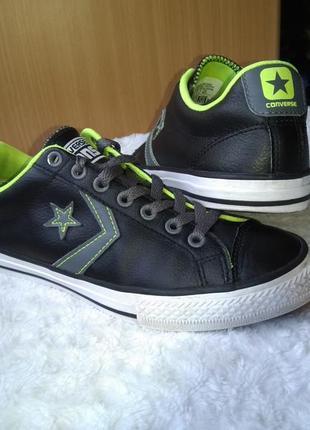 Брендовые кожаные кеды кроссовки converse р.37 стелька 24,2 см.