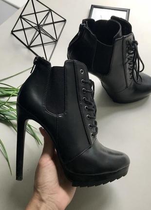 Крутые ботинки на высоком каблуке ботильоны с шнуровкой zara