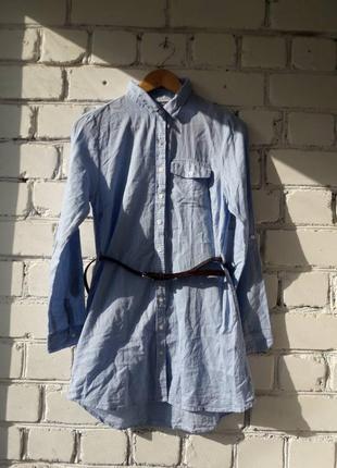 Джинсовое хлопковое платье -  рубашка atmosphere s